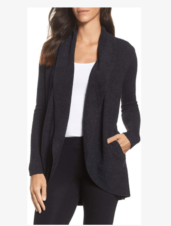 Barefoot Dreams Cozy Chic Lite Circle Cardigan is a great sweater for layering and warmth.