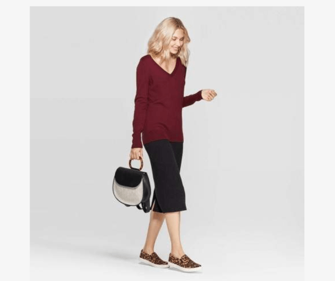 Target's A New Day line has a basic v-neck pullover sweater that is figure-flattering and lightweight