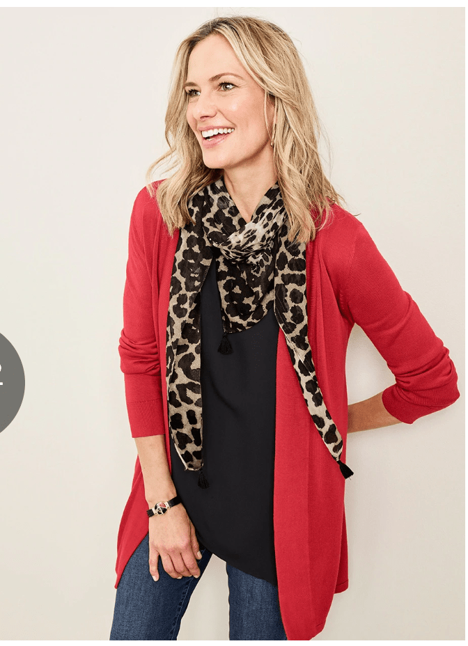 Chicos Off The Rack has this perfect cardigan for layering, lightweight with a banded back waist to accentuate your figure