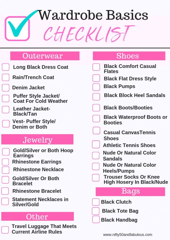 Wardrobe Basics Checklist Part 2 Outerwear/Shoes/ Jewelry/Bags/Other