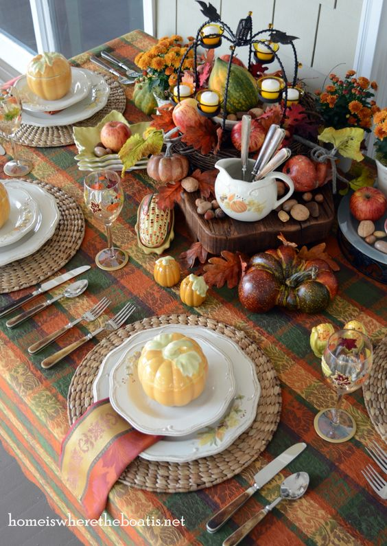 Gorgeous plaids in orange, reds, greens are great to use for your Thanksgiving table