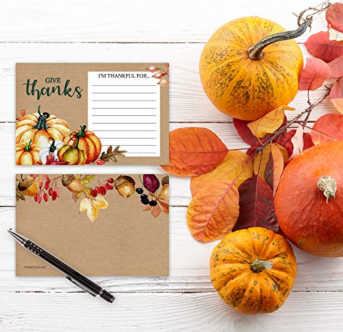 I Am Thankful For gratitude cards for Thanksgiving activity