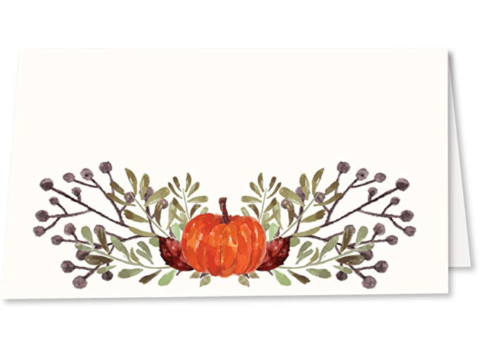 Tent style Thanksgiving place setting cards helps with pre arranged seating