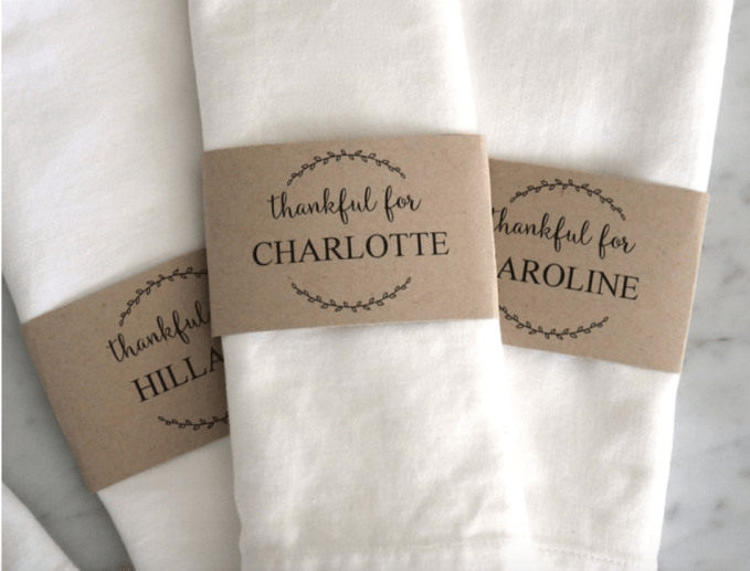 Personalized paper napkin ring holders from Etsy