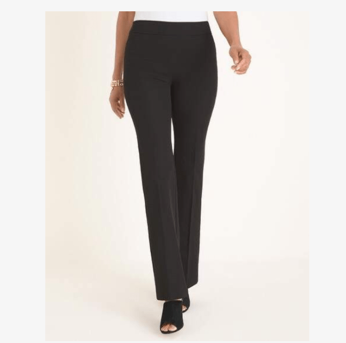 "Boot cut Ponte knit pants from Chicos are perfect for comfort and to ""level up"" your style."