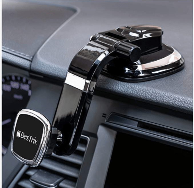 Hands-free magnetic phone holder for your car.  Safety first for driving with this hands-free phone holder.
