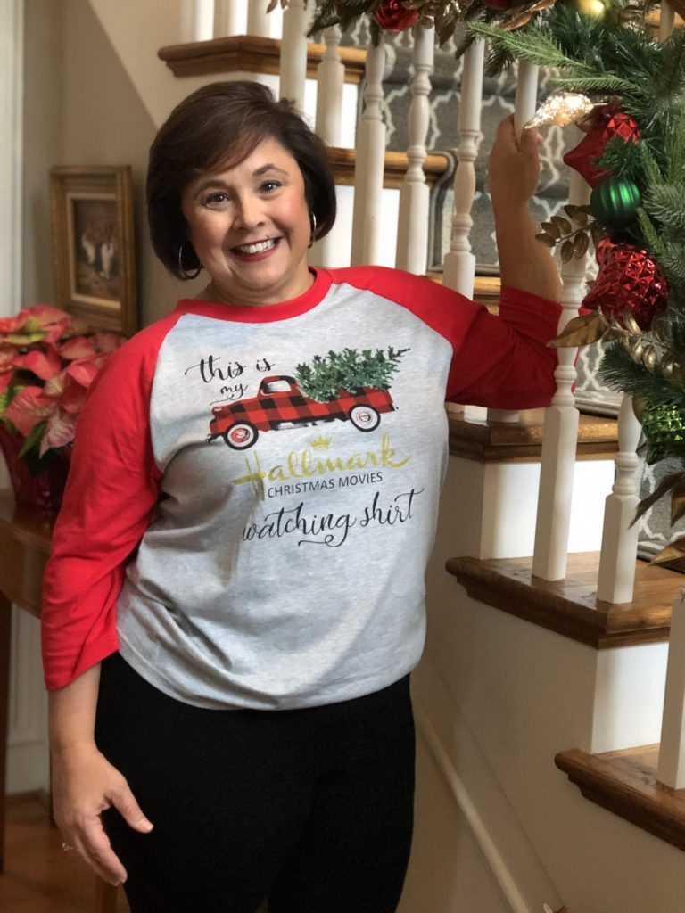 Girl's night in or bunco party, add a holiday-themed t-shirt with comfortable jeans or knit pants.  You can also add a vest or denim jacket with this look.
