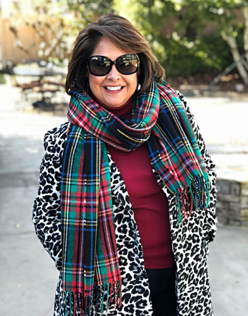 Go wild and mix patterns and textures.  Leopard and plaid go GREAT together.