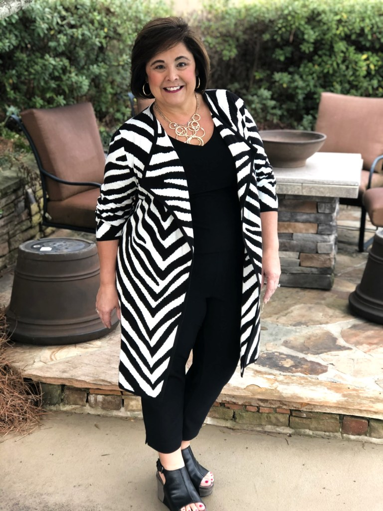 what I wore to winter baby shower- zebra jacket