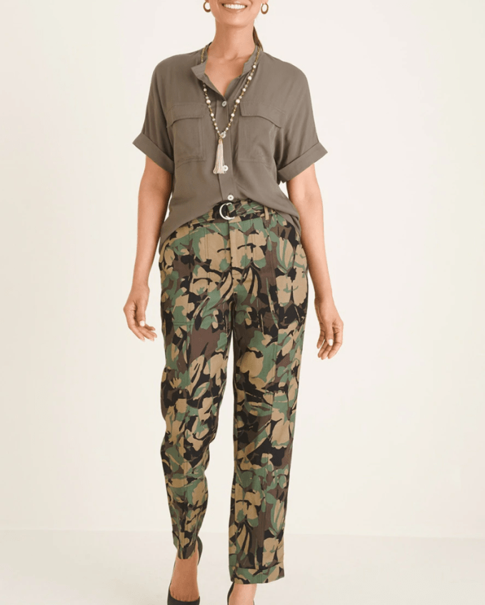 Prints such as camo and animal can work great to bring attention down