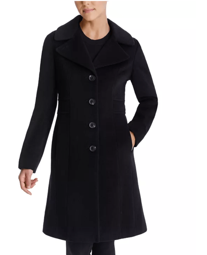 Anne Klein Single Breast Wool Walker Coat is perfect event coat for petites