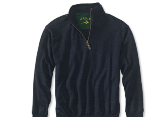 Classic look for men, the quarter zip sweater with leather trim from Orvis makes great gift for men
