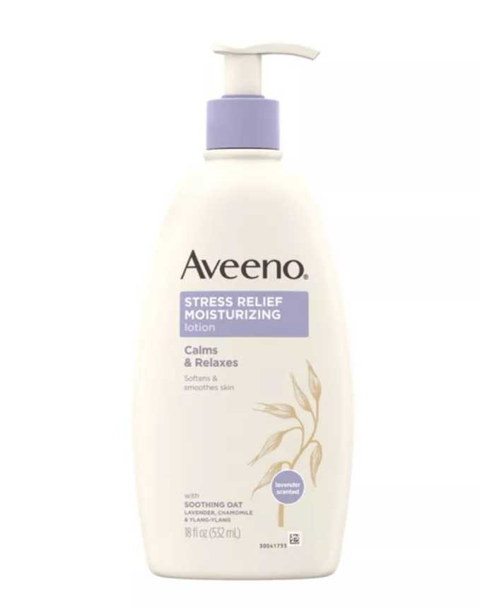 After your shower or bath, treat your body with Aveeno Stress Relief Moisturizing Lotion. The lavender scent is the perfect way to relax and get ready for a good night's sleep.