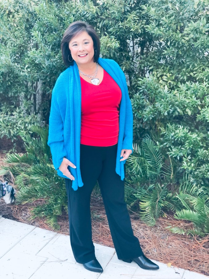 """Trying out a new combination- Chinese Blue and Tango Red. The sweater is one I have had in my closet for years.  Love """"shopping my closet"""""""