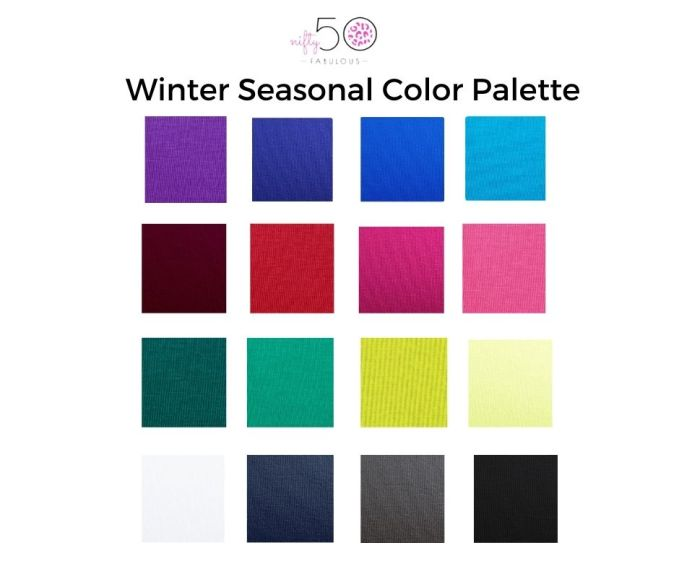 Winter Seasonal Color Palette- For my Capsule Wardrobe Challenge, I chose colors from my personal color palette