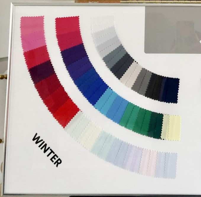 The Winter Seasonal Color Palette includes colors that are cool, bright,and clear