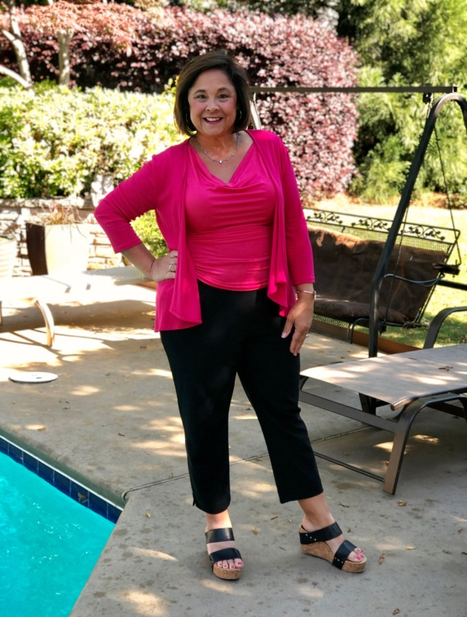 Cropped pants for Spring/Summer with bright bold tops are my go-to for date night and church