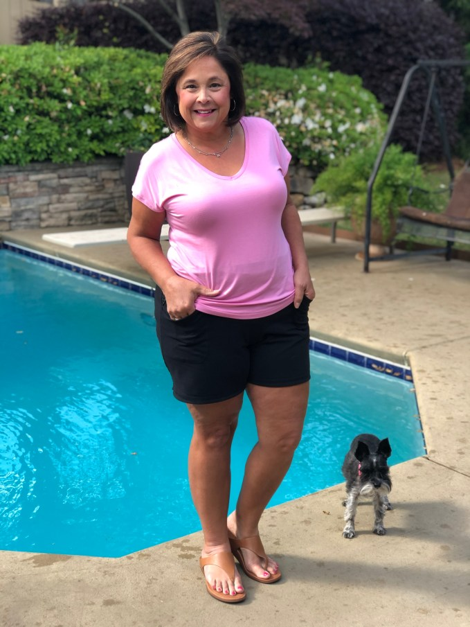 My everyday look includes the Lands End 5 Pocket Active Shorts and a bright color top