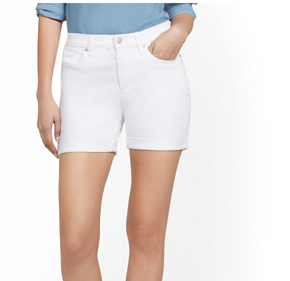 It is hard for pear shaped body to wear white shorts, but not impossible.