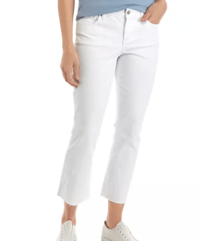 Crown & Ivy Raw Hemmed Cropped White Jeans For Summer
