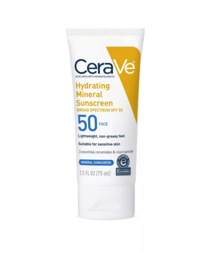 Summer Skincare- Facial Sunscreen. I use CeraVe Hydrating Mineral Sunscreen with 50 SPF