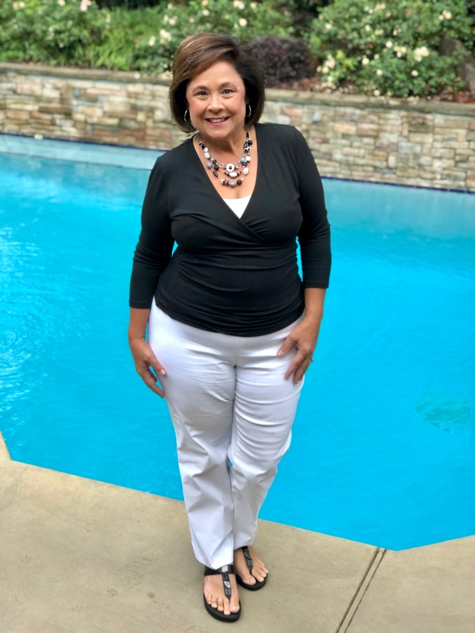 White pants after Labor Day- Go ahead and break the rules! This outfit features a black faux wrap top from Kettlewell Colours and a Black/White necklace from Chicos Off The Rack