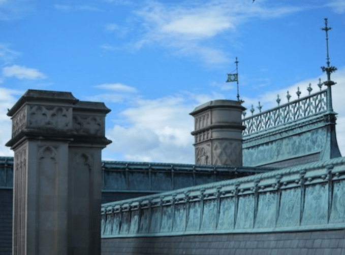 So much detail on the outside of Biltmore House, including the rooftop. The green you see is copper that has been aged by weather and time.