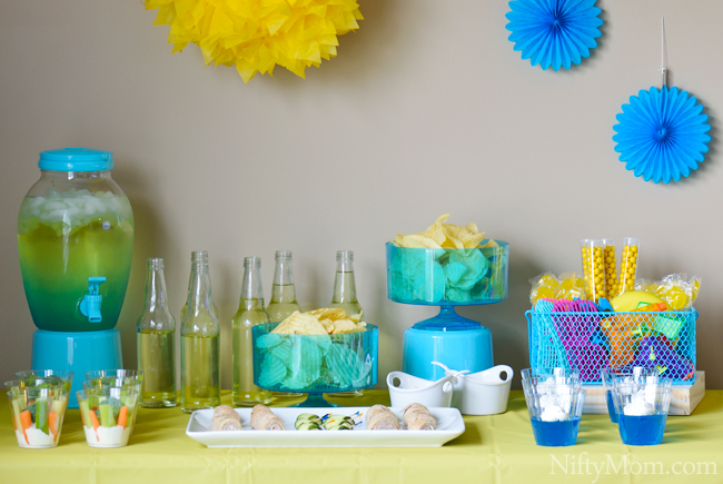 Blue Yellow Indoor Summer Party Ideas