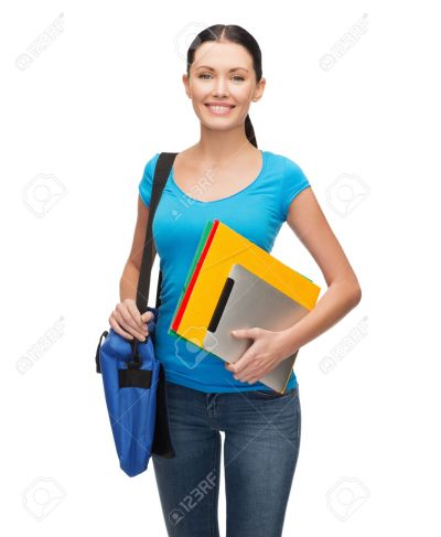 education, technology and people concept - smiling student with bag, folders and tablet pc computer standing