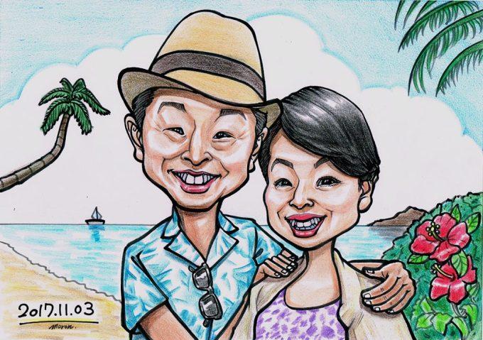一生の想い出に!ご両親へのプレゼントは似顔絵ハワイアレンジで決まりです!