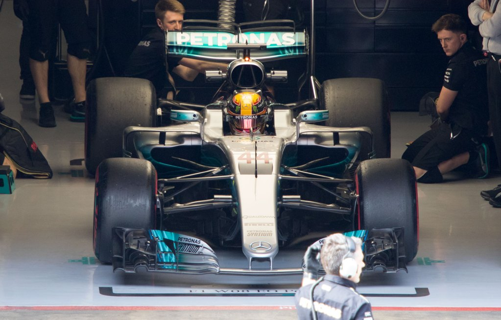 Hamilton emerges from the garage in the Mercedes W08 EQ Power+