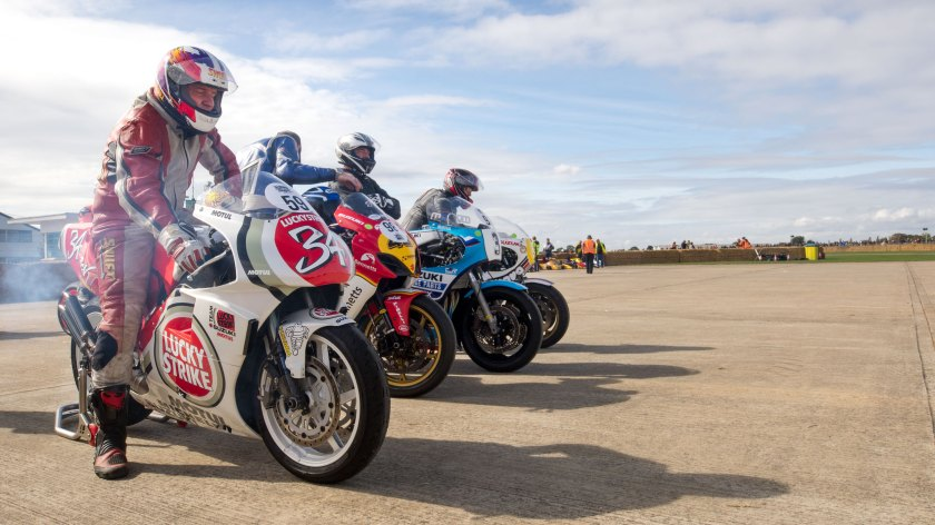 Motorbikes in the paddock, Sywell Classic Pistons and Props show Sept 23 - 24 2017, Sywell Aerodrome, Northamptonshire, England