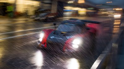 TC17 GT V8 in the pit lane at night in the rain