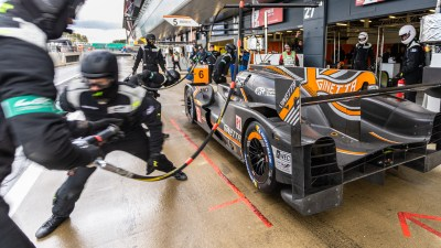Pit stop for Team LNT Ginetta LMP1 car. WEC 4 Hours of Silverstone 2019