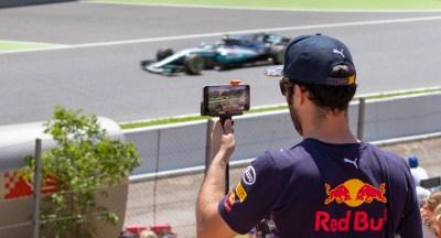 A spectator films the action on a phone. Gran Premio de España 2017, Circuit de Barcelona