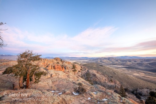 This morning Allan and I went up to Hartman's Rocks here in Gunnison for the sunrise. It's a beautiful spot with a great view of the town with the West Elks wilderness in the background.