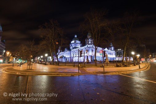 Belfast City Hall in all it's light up glory with a nice patchy cloud sky from this evening.
