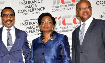 (L-r): Bismark Rewane, chief executive officer, Financial Derivatives Company Limited, Mrs. Funke Alomo-Oluwa, managing director, Chams Access Limited and Prosper Okpue, vice chairman /CEO Insurance Brokers of Nigeria, during the Insurance Industry Consultative Council  at the 2015 Mega Conference in Abuja recently.
