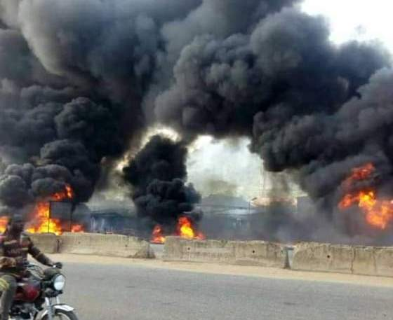 Tanker ran into tricycles, motorcycles, cars and bus; went up in flames