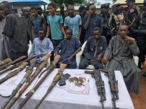 Gang of Kidnappers Terrorising Abuja-Kaduna Express Way Busted, Weapons Recovered. (Photos)