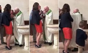 Angry Priest Hits Baby For Crying During Baptism (Video)