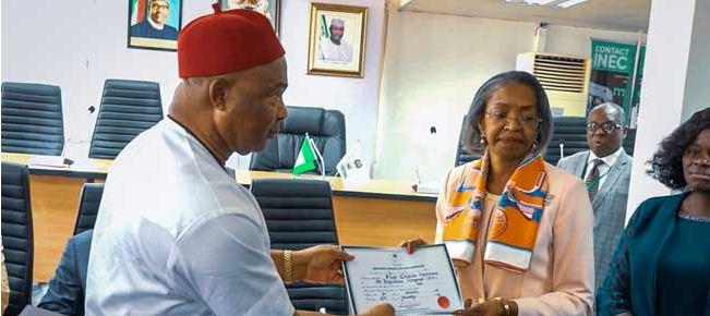 Hope Uzodinma, Hope Uzodinma Receives Certificate Of Return