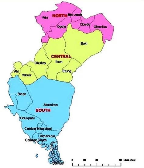 Map of Cross River State with details