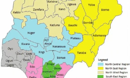 Map of Nigeria Showing Details of the 36 States and FCT