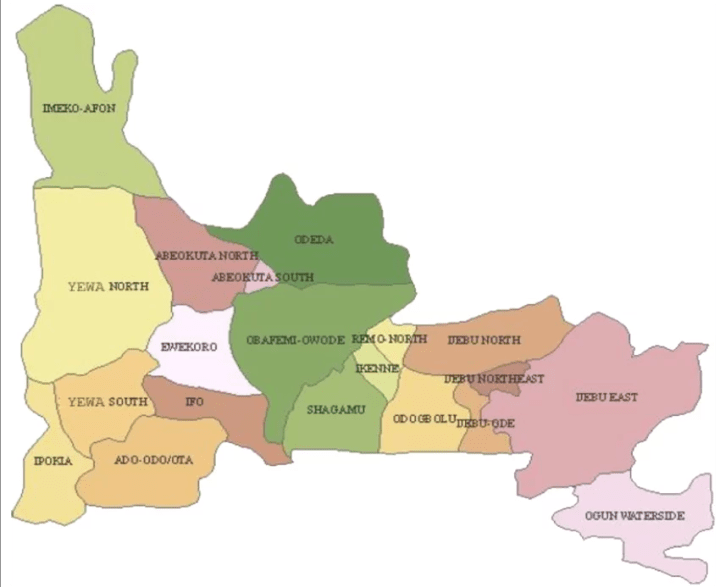 Map of Ogun State with details