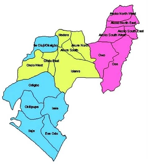 Map of Ondo State with details