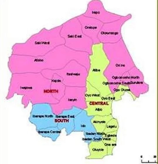 Map of Oyo State with details