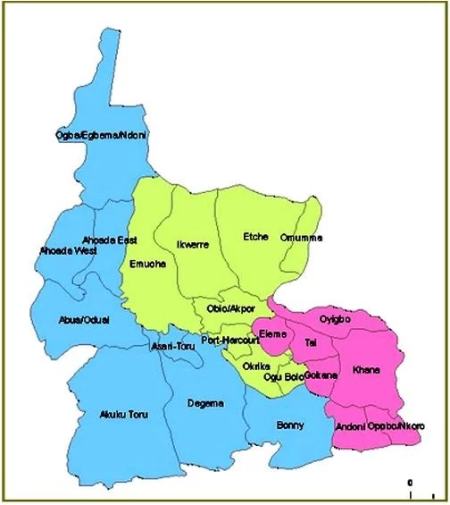 Map of Rivers State with details