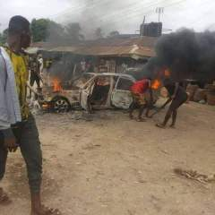 Angry Youth Sets Police Van Ablaze in Aba after a Police Officer Allegedly Killed a Keke Rider at Uratta Junction