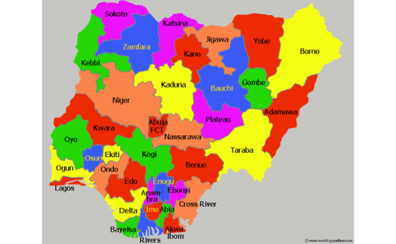 Map of Nigeria Showing the 36 States